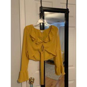Yellow Ruffle Tie Crop Top